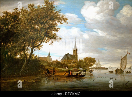 Salomon Jacobsz van Ruysdael 1600 - 1670  River Scene  with fishing boats in the foreground 1664 Netherlands Dutch - Stock Photo