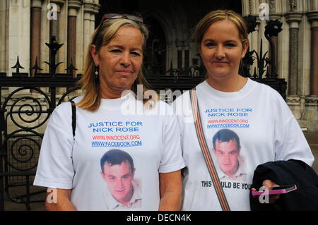 London UK 16th Sept 2013 : Case of Nick Rose sentence to 20 years imprisonment without parole and accused of murder. - Stock Photo