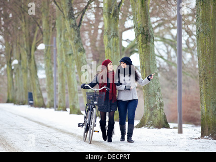Two friends outdoors enjoying their bonding time in a winter park - Stock Photo