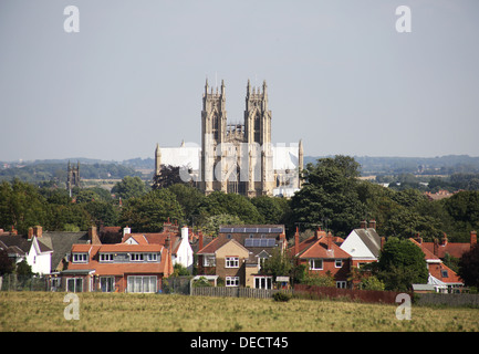 Beverley Minster, in Beverley, East Riding of Yorkshire,viewed from newbold road - a wonderfull picnic spot - Stock Photo