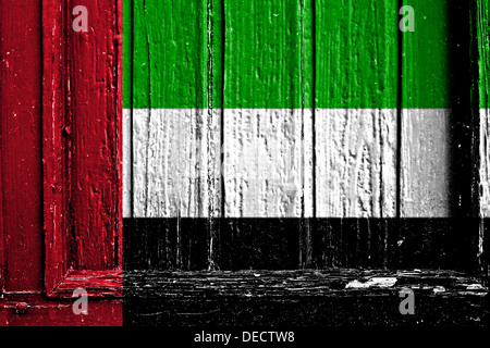 flag of United arab emirates painted on a wooden frame - Stock Photo