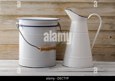 Bathroom Jug pitcher and wash bowl stock photo, royalty free image: 55589163