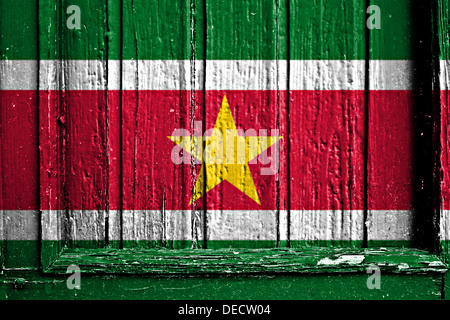 flag of Suriname painted on a wooden frame - Stock Photo