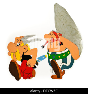 'Asterix and Obelix' wooden home-made bedroom wall decorations, based on the popular French comic by Rene Goscinny - Stock Photo