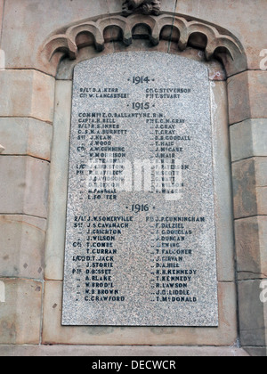 Inscriptions on Dalkeith War memorial 1914-19, Midlothian,Scotland,UK - List of men - Stock Photo