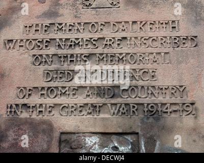 Inscriptions on Dalkeith War memorial 1914-19, Midlothian,Scotland,UK - Stock Photo