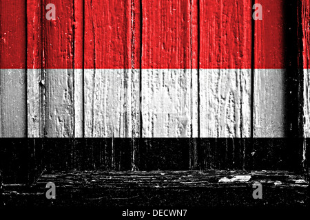 flag of Yemen painted on a wooden frame - Stock Photo