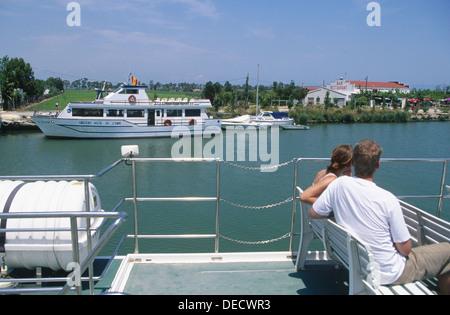 Cruise on the Ebro river mouth. Delta del Ebro Natural Park. Tarragona. Spain. - Stock Photo