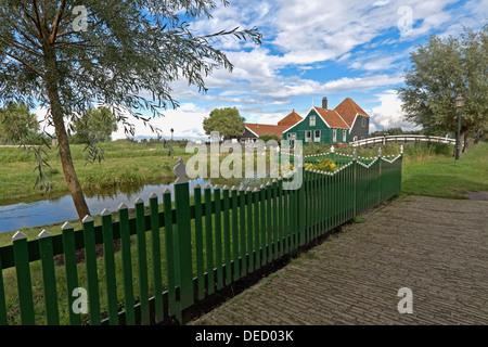 View towards a cheese farm, called 'De Catharinahoeve' at  Zaanse Schans, Zaandam, North Holland, The Netherlands - Stock Photo