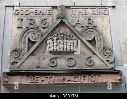 Crest stones indicating the location of the Netherbow Port Canongate Royalmile Edinburgh Scotland UK - Stock Photo