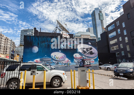 Mural advertisement with satellites and satellite dishes advertising ... addc2ee04ca
