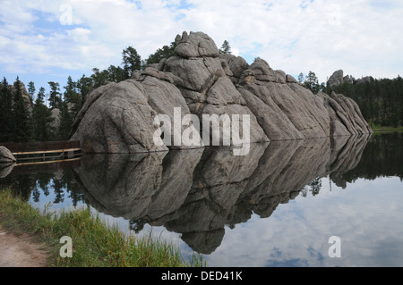 Sylvan Lake. Custer State Park. Part of the dam built by Theodor Reder in 1881. - Stock Photo
