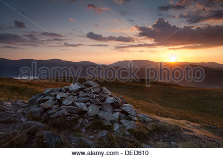 Sunset over Blencathra from Arthurs Pike, Lake District - Stock Photo