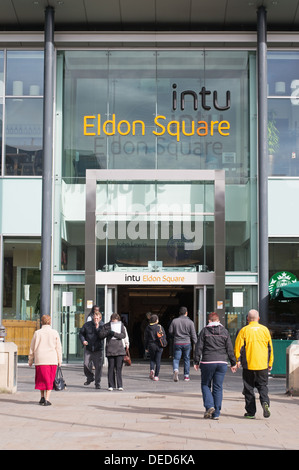 Entrance to Eldon square shopping centre, Newcastle, north east England, UK - Stock Photo
