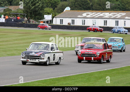 Chichester, UK . 15th Sep, 2013. Goodwood Revival 2013 at The Goodwood Motor Circuit - Photo shows a white 1965 - Stock Photo