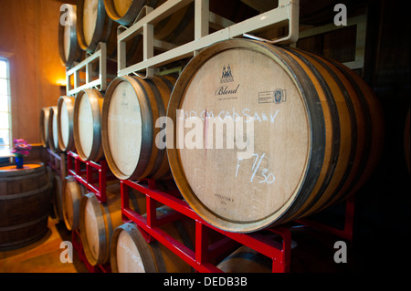 USA, New Jersey NJ Cape May Winery and vineyards on the Southern Jersey Shore barrels of wine in the tasting room - Stock Photo