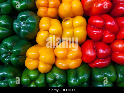 Assortment of bell peppers in the central market of Maputo, Mozambique. - Stock Photo