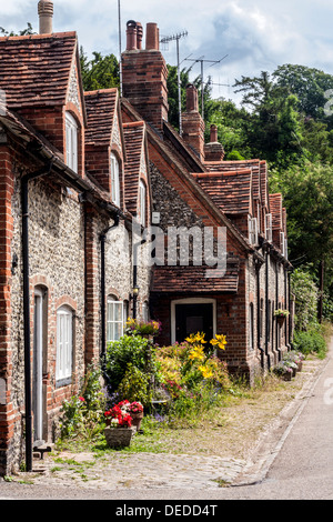 Houses in the Village of Hambleden in Buckinghamshire - Stock Photo