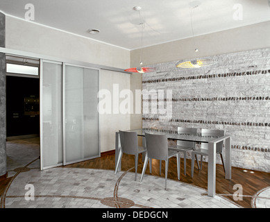 Kitchen Area Dining Table With Chairs In A Modern Living Room Overlooking On The