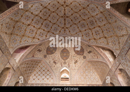 painted ceiling, Ali Qapu, Isfahan, Iran - Stock Photo
