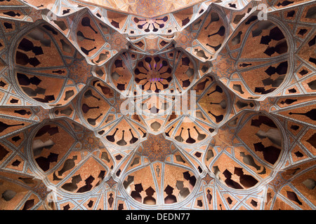 detail of vaulted niche in so-called music room, Ali Qapu, Isfahan, Iran - Stock Photo