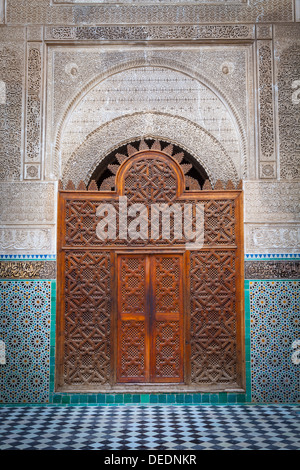 The ornate interior of Madersa Bou Inania, Fes el Bali, UNESCO World Heritage Site, Fez, Morocco, North Africa, - Stock Photo