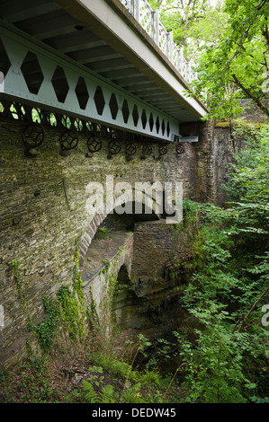 The three bridges at Devil's Bridge near Aberystwyth Ceredigion Wales UK - Stock Photo
