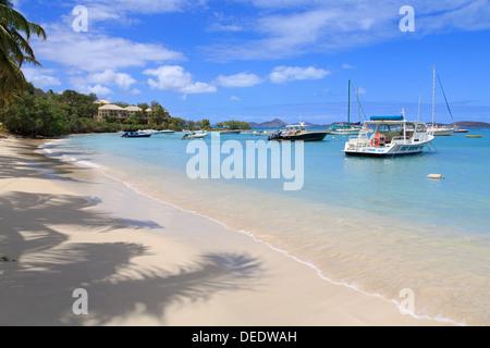 Beach in Cruz Bay, St. John, United States Virgin Islands, West Indies, Caribbean, Central America - Stock Photo