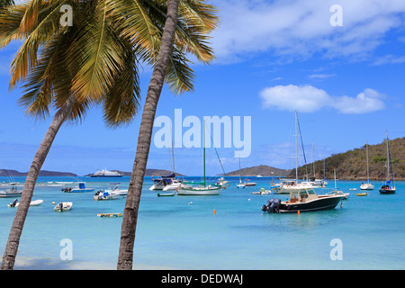 Boats in Cruz Bay, St. John, United States Virgin Islands, West Indies, Caribbean, Central America - Stock Photo