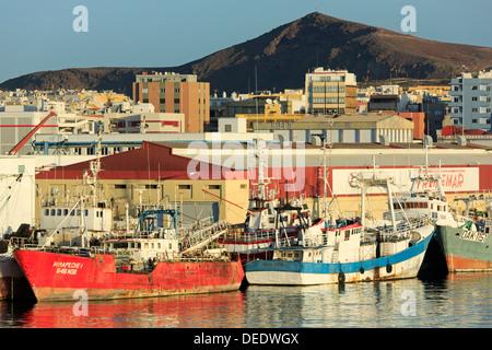 Fishing boats in Santa Catalina Port, Las Palmas City, Gran Canaria Island, Canary Islands, Spain, Atlantic, Europe - Stock Photo