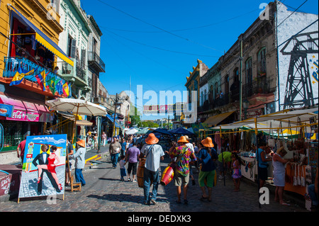 Street scene in La Boca neighbourhood in Buenos Aires, Argentina, South America - Stock Photo
