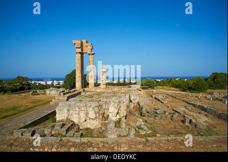 Apollo Temple, Acropolis, Rhodes City, Rhodes, Dodecanese, Greek Islands, Greece, Europe - Stock Photo