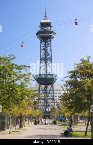 Cable-car over Barcelona harbour, Catalonia, Spain - Stock Photo