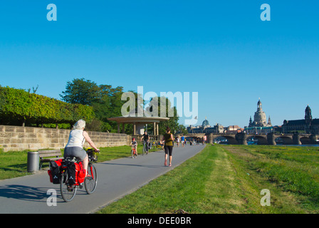 Riverside promenade in front of Palaisgarten park Neustadt the new town Dresden city Saxony state eastern Germany - Stock Photo