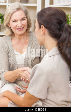 A saleswoman with shaking hands with a senior woman at home - Stock Photo