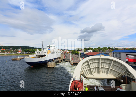 Bow doors closing on Oslofjord passenger car ferry to Horten sailing out of Moss, Norway, Scandinavia, Europe - Stock Photo