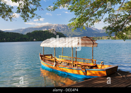 Traditional wooden rowing boat, Lake Bled, Bled, Slovenia, Europe - Stock Photo