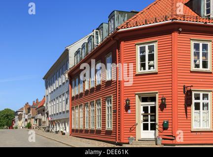 Traditional wooden buildings in old town of Gamlebyen, Fredrikstad, Ostfold, Norway, Scandinavia - Stock Photo