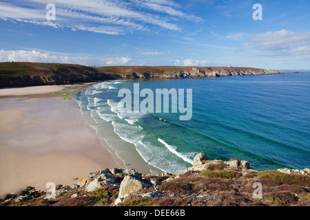 View from Pointe du Van over the Baie des Trepasses to the Pointe du Raz, Peninsula Sizun, Finistere, Brittany, - Stock Photo