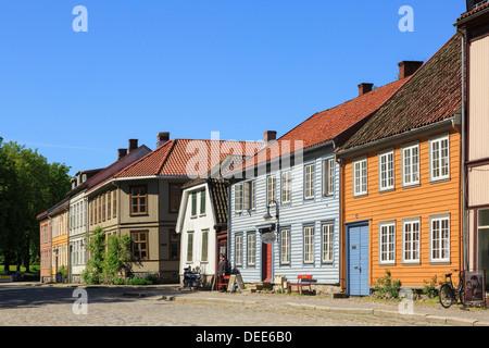 Traditional historic wooden buildings on Voldgarten in old town of Gamlebyen, Fredrikstad, Ostfold, Norway, Scandinavia - Stock Photo