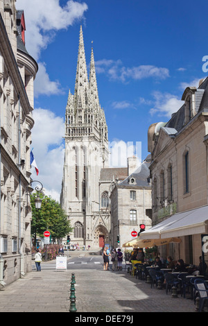 Saint Corentin Cathedral, Quimper, Finistere, Brittany, France, Europe - Stock Photo