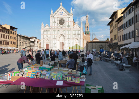 Flea market in front of the church of Santa Croce, Florence, UNESCO World Heritage Site, Tuscany, Italy, Europe - Stock Photo