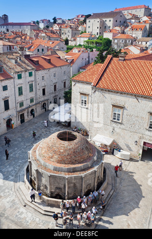 Onofrio fountain, Old Town, UNESCO World Heritage Site, Dubrovnik, Dalmatia, Croatia, Europe - Stock Photo