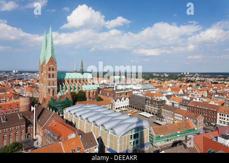 View of town hall and Marien Church, Lubeck, Schleswig Holstein, Germany, Europe - Stock Photo