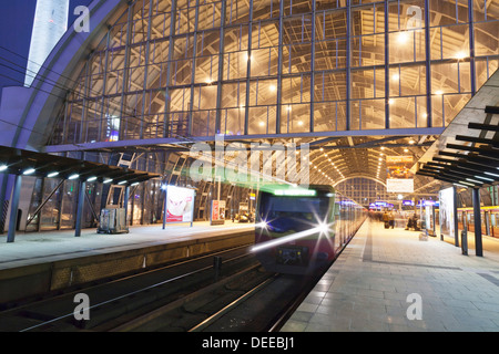 Incoming train, Alexanderplatz S Bahn station, Berlin, Germany, Europe - Stock Photo