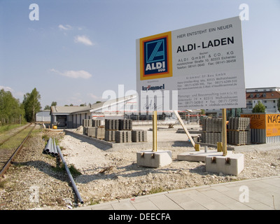 Supermarket Aldi building site in Geretsried. Upper Bavaria, Germany - Stock Photo