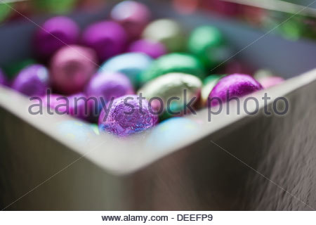 Foil-wrapped chocolate eggs - Stock Photo