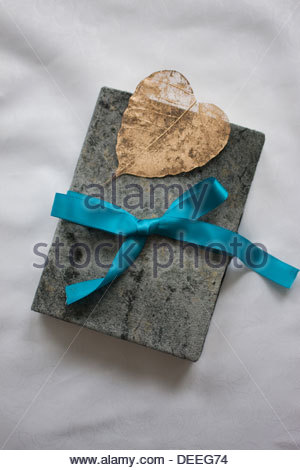 Close up of book tied with ribbon - Stock Photo