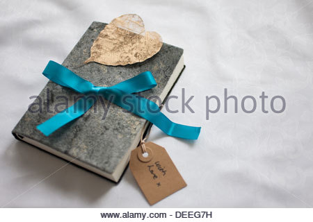 Close up of book tied with ribbon and gift tag - Stock Photo