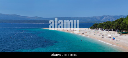 Beach of Zlatni rat (Golden Horn) and the island of Hvar in the background, Bol, Brac, Dalmatia, Croatia, Europe - Stock Photo